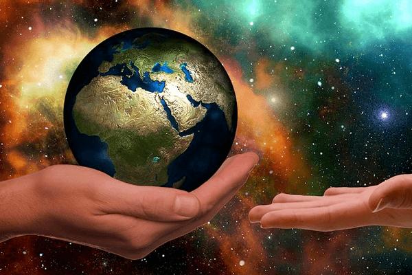 Handing over a globe