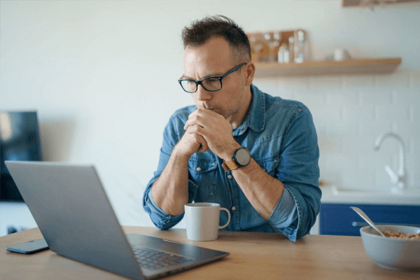 Man Studying at a laptop